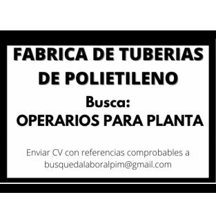OPERARIO PARA PLANTA